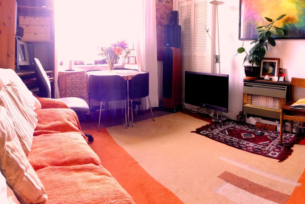 Cosy Living room, bright and south facing with lots of light, warmth and colour,  with orange throw on Fold out couch bed. My original art work can also be seen :-)