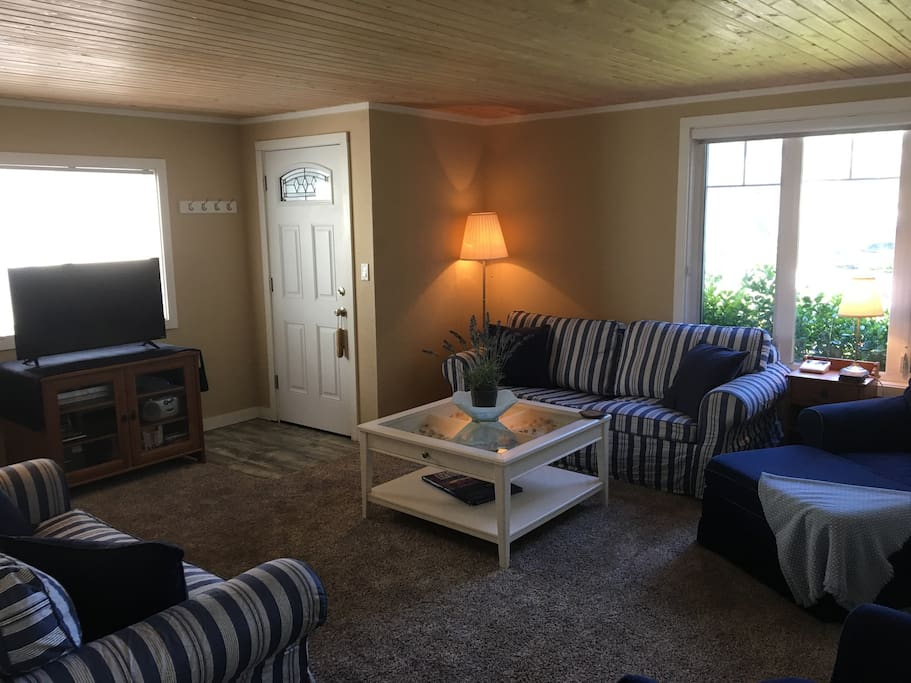 Spacious, cozy living room with sofa-bed and warm fire/heater.