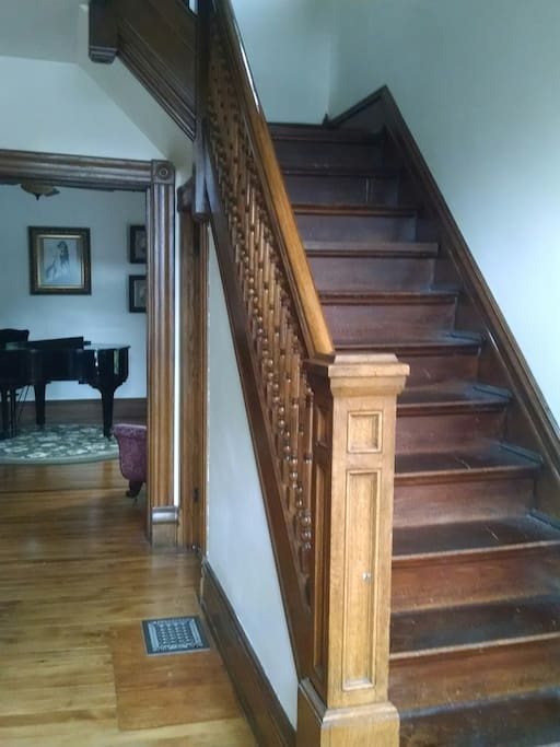 Stairs that lead to the private bedrooms
