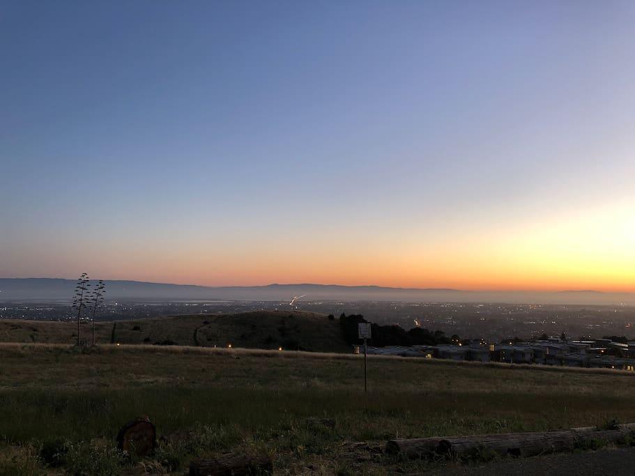 Sunset view of San Mateo bridge and Bay