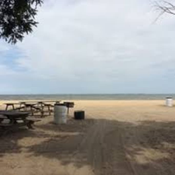 The Beach, Picnic Tables and Grills