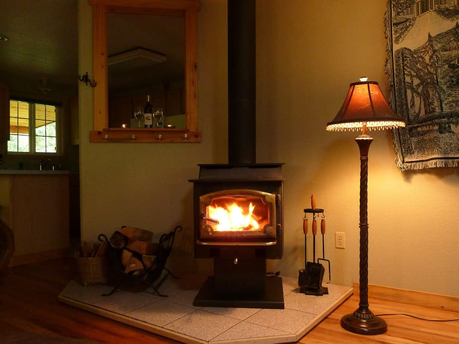 Hear the crackle and feel the glow of the wood fireplace while snuggled on the couch.