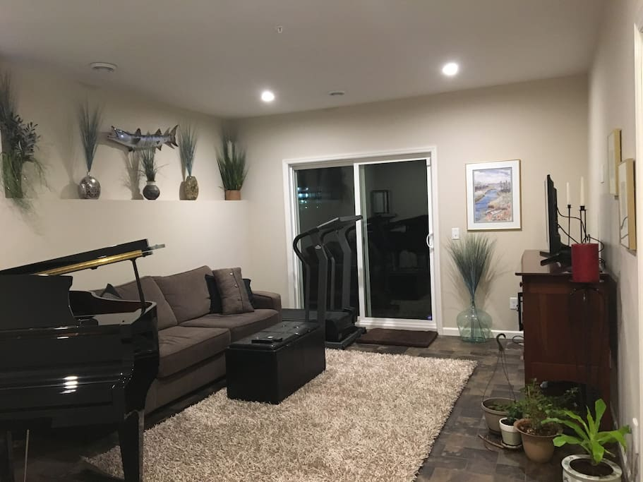 Lower level living space with TV