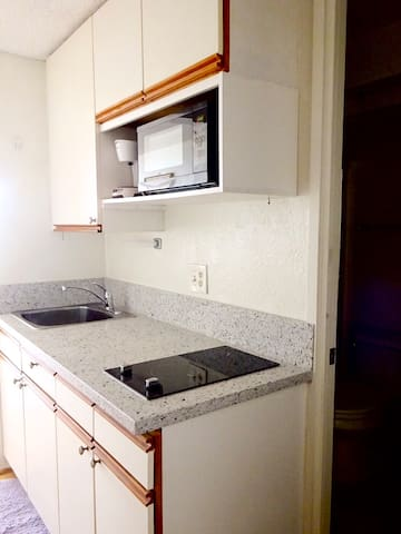 Kitchenette with a sink and double electric cook-top.