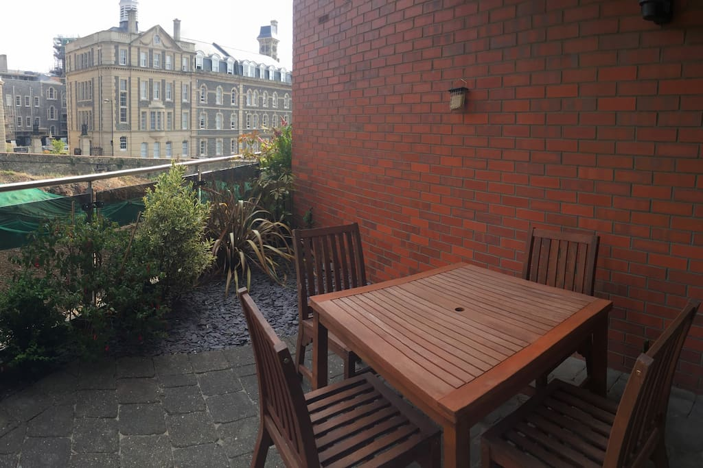 Terrace with views of harbour and G2 listed building