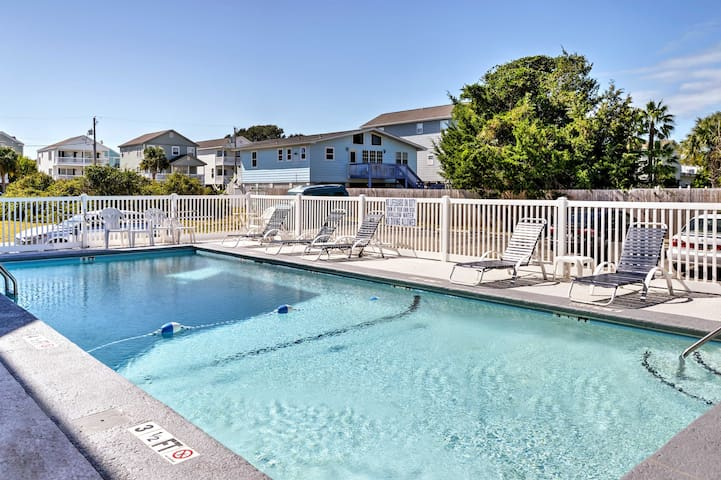 While the beach sits across the street, you'll have access to a community pool.