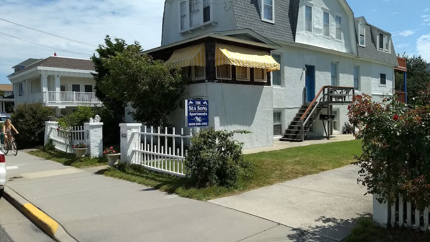 The Sea Song, 11 S Broadway, Cape May.  Beach block.