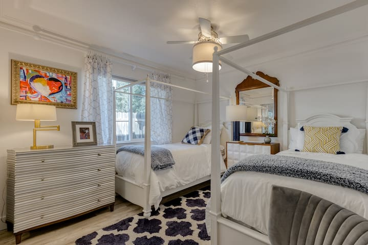 Twin Bedroom: 2 Twin Canopy Beds with BLACKOUT Pull Down Shade & Drapery