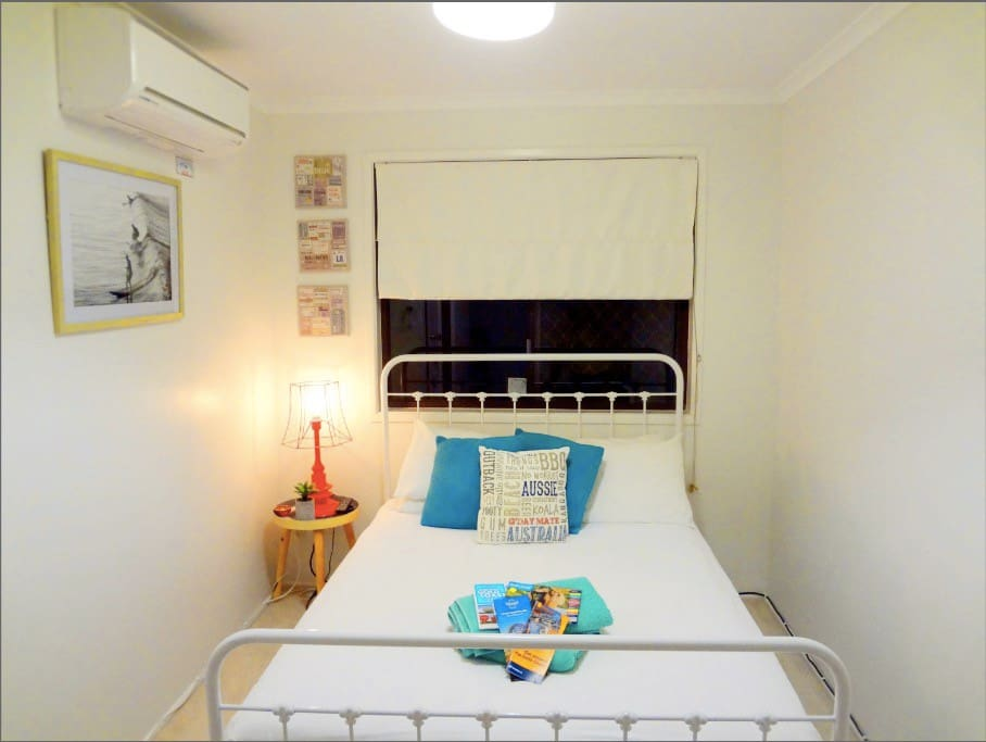 Double bed, fully air-conditioned room, with Large TV and collection of DVDS for your entertainment