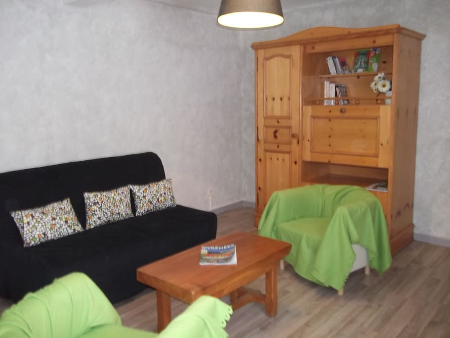 vaste salon avec canapé Bz convertible