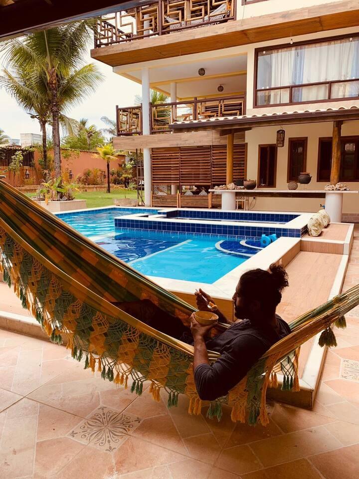 Chalé família, mar, piscina, casa praia, aconchego