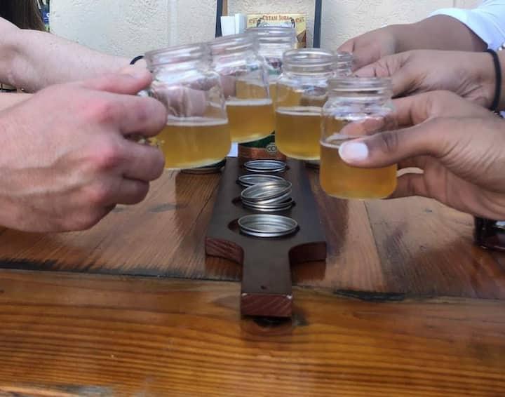 Taste samples of  local craft beer.