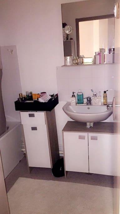 Salle de bain muni d'une baignoire