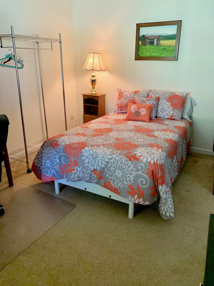 """Full-size bed with extra-thick mattress and new 5"""" organic mattress topper."""