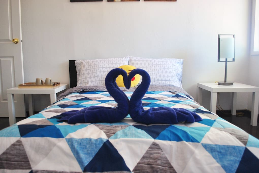 Comfortable & clean bed, pillows, sheets, pillow cases, towel, and comforter are provided
