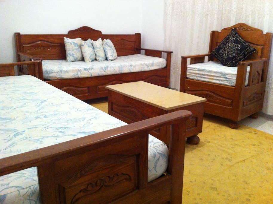 Salon avec deux canapés ( lits )
