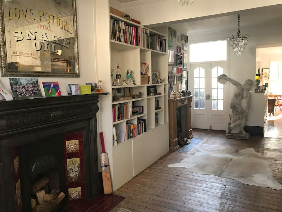 Living space and our statue Terry Discobolos