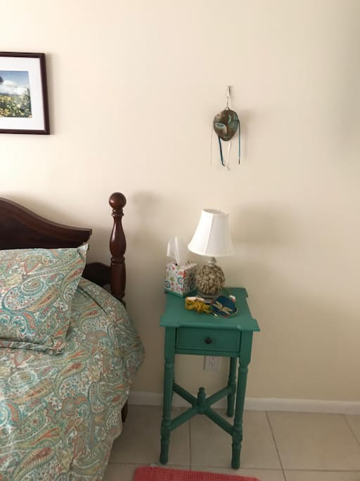 Comfy queen size bed, large screen TV in room with DVD player.