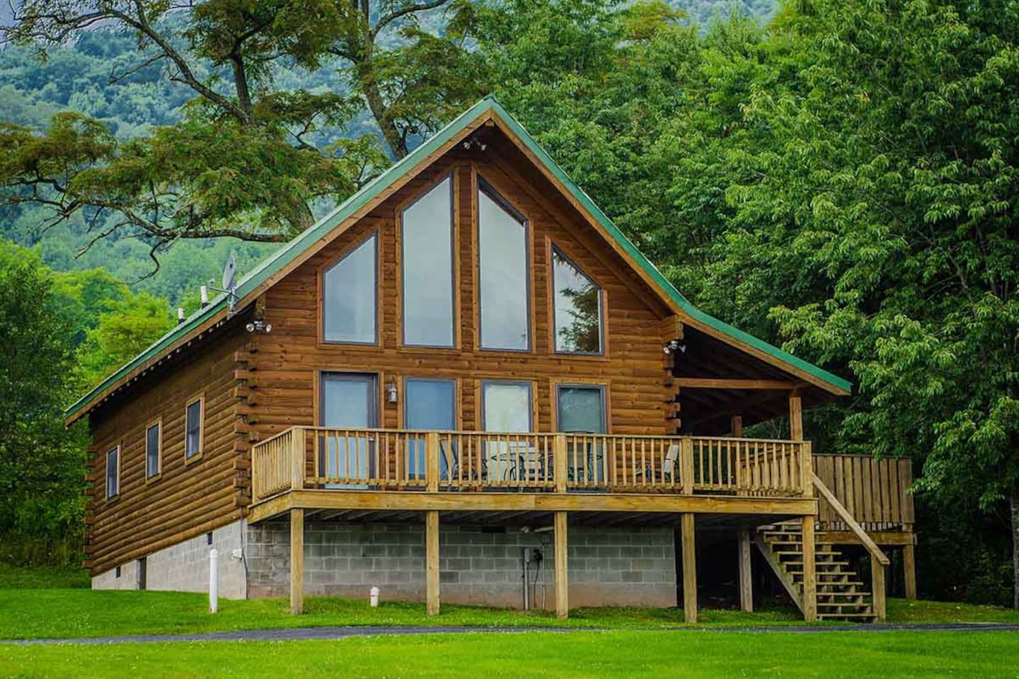 windows large luxury at lush s wooden our to outdoor tub deck exterior of hot bedroom view wv in cabins harman a next with and cabin tour log