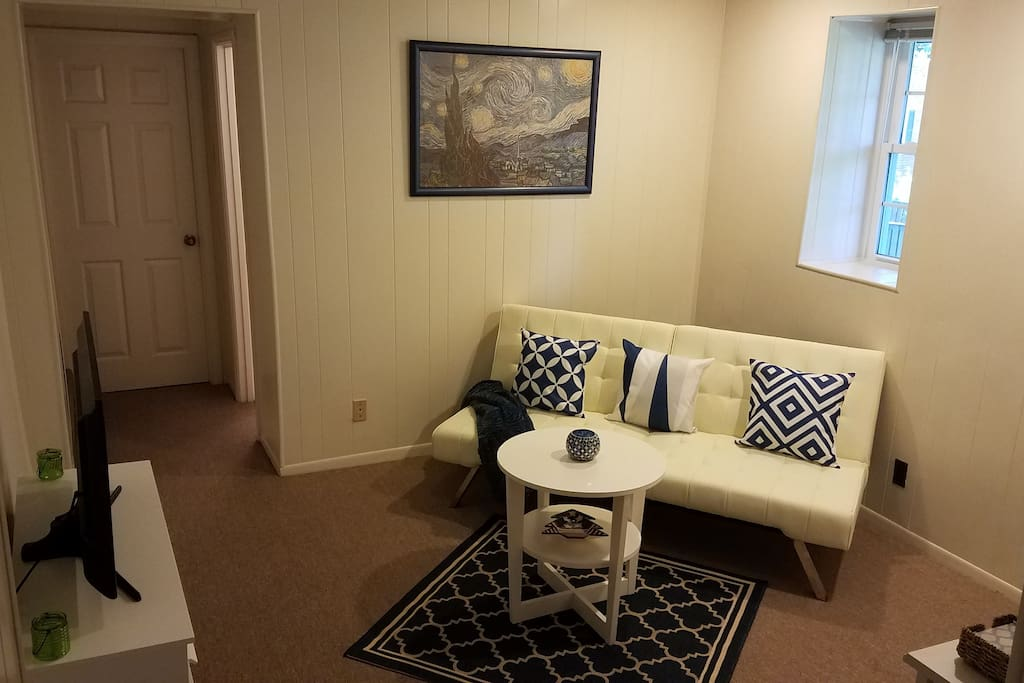 Private living room/TV room/den for Airbnb guests.