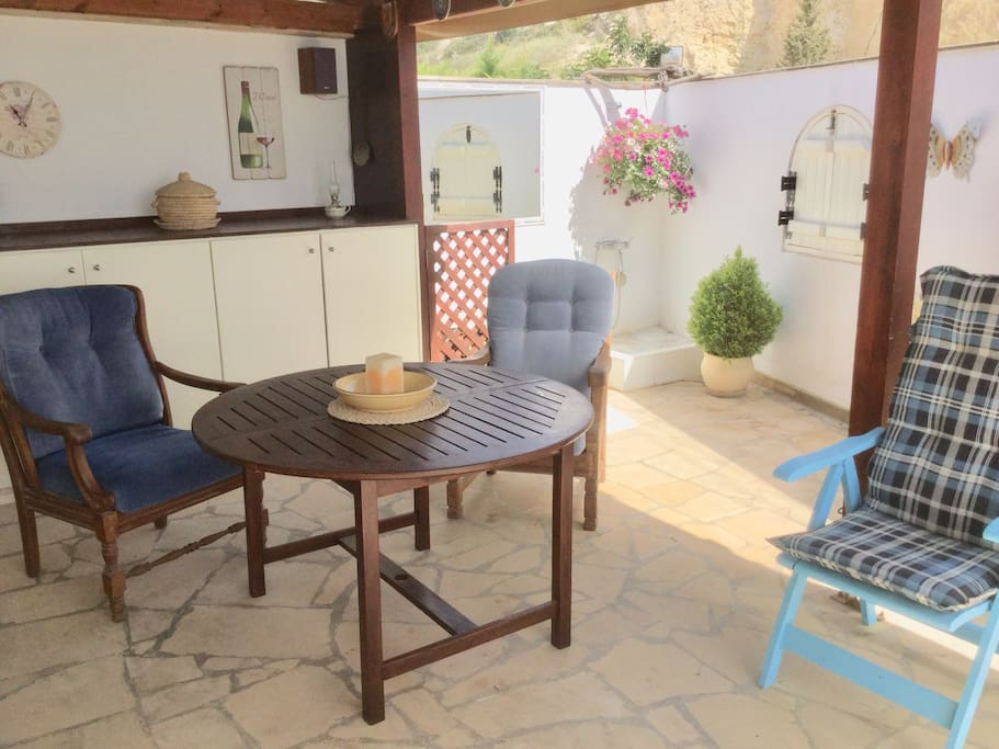 Outside kitchen and terrace, with view of Pissouri Bay.
