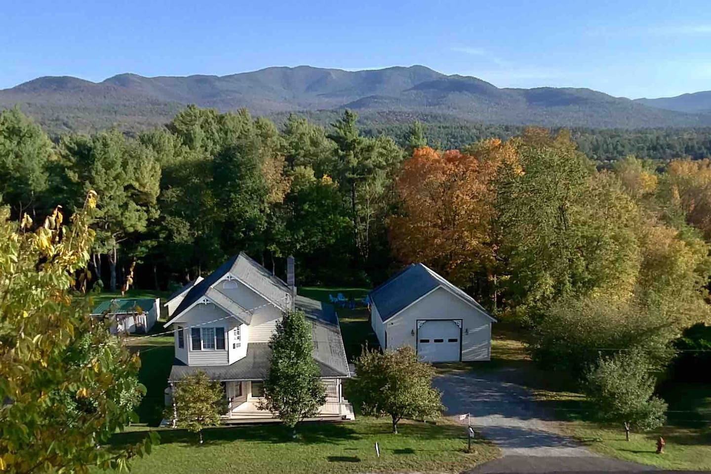 Aerial shot of Modern Mountain Farmhouse. We are situated in the middle of the gorgeous Jay range in the Adirondacks!