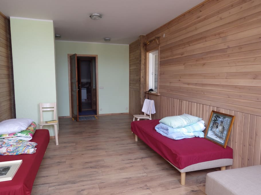 Bedroom with four single beds