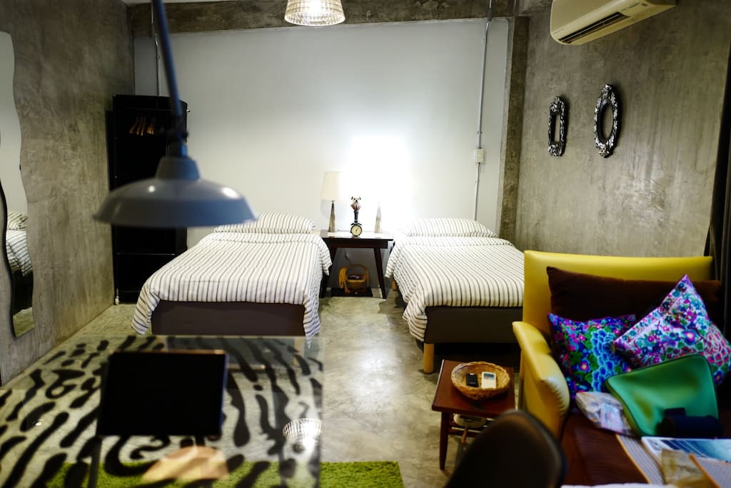 Space #1: A 27.5 sq.m.-studio with plenty of space for up to 4 guests, with 2 single beds that can be set up together for couples or separately for traveling friends! and 2 more comfortable floor mattresses of same quality as the beds upon request.