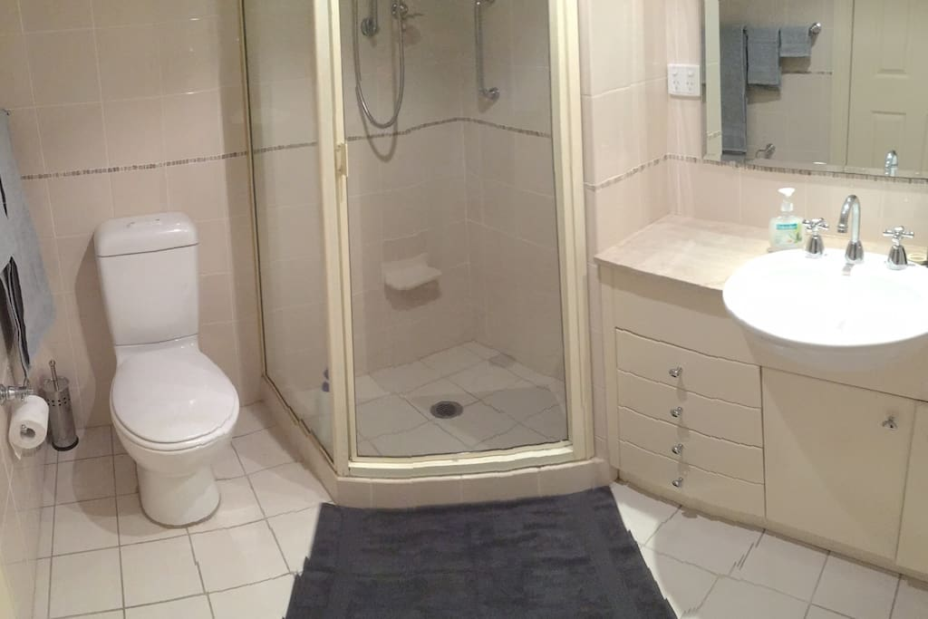 Private bathroom with towels provided
