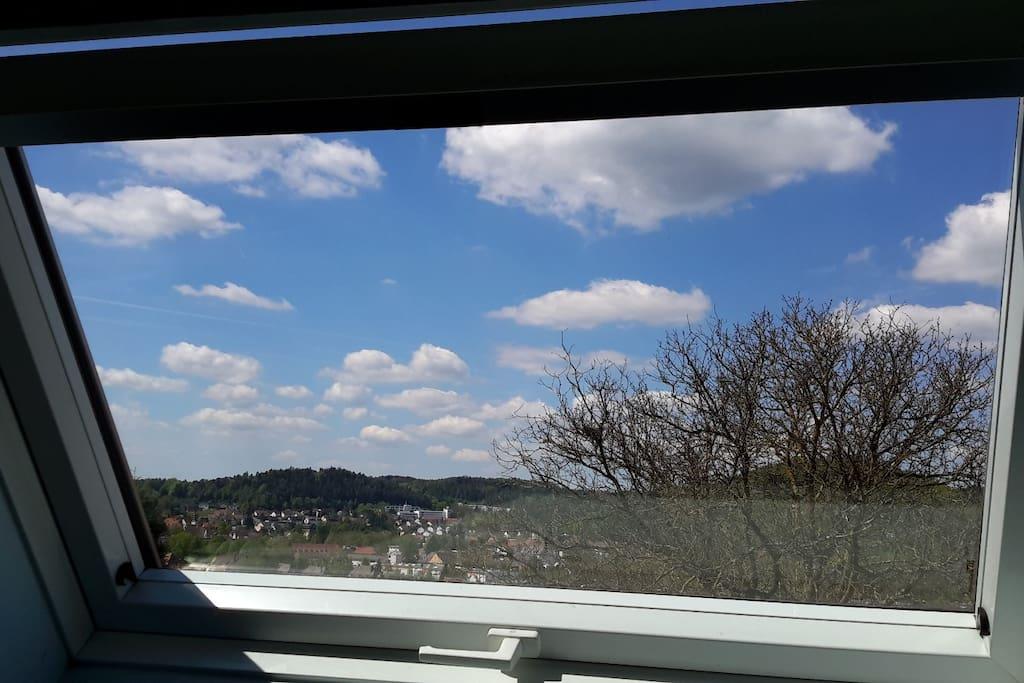 Aussicht auf Pegnitz Fenster im Wohn-und Schlafraum