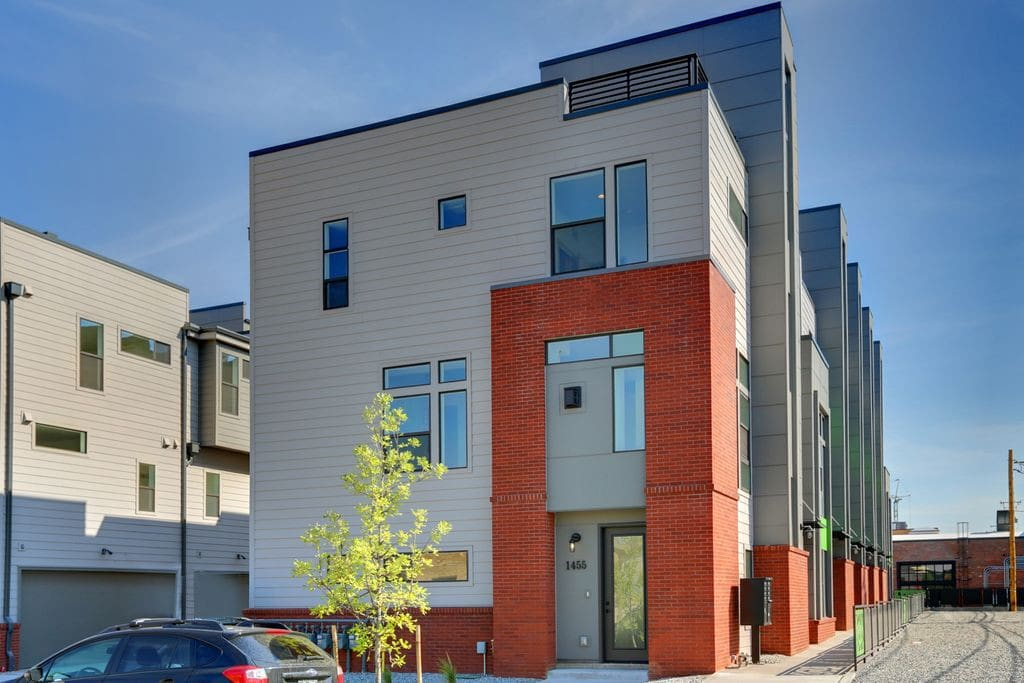 Townhouse from street.  All 3 levels are part of the house including rooftop deck.