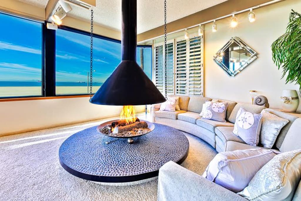Enjoy a relaxing fire with a view of the ocean