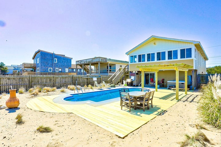 4122 Blue White Haven * 3 Min Walk to Beach * Heatable Pool * Hot Tub * Pool Table