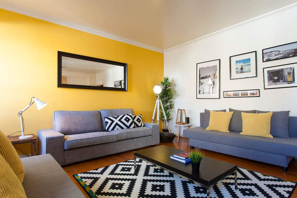 Living Room with 2 double sofa beds