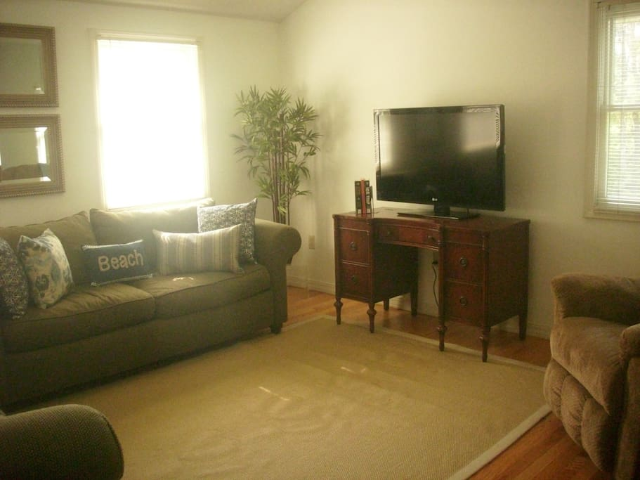 Living room area with TV and DVD player