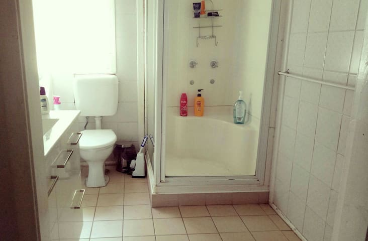 Shared bathroom with shampoo, soap, hairdryer,  and towels