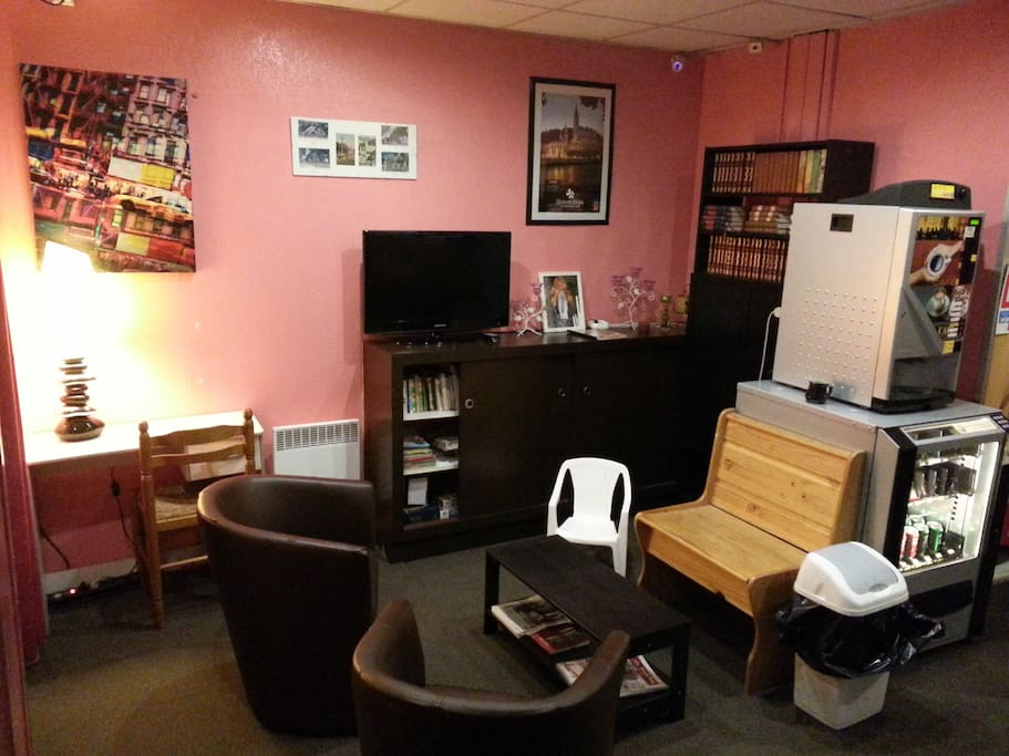 salon TV bibliothèque - espace commun