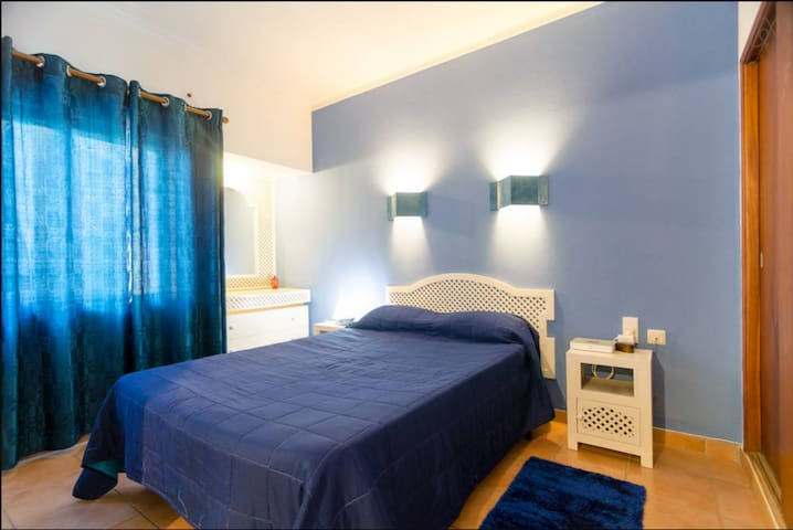 The Room is decorated in blue. Perfect for couples