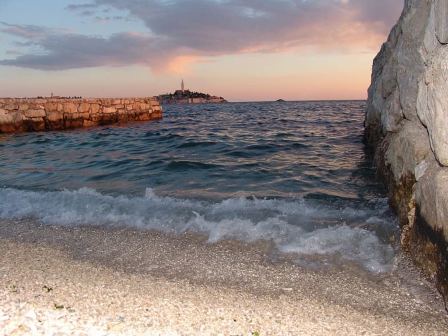 The closest beach (15 minutes walk) which is also the most beautiful in Rovinj (Porton Biondi Beach)