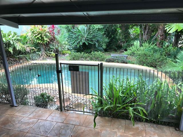 Royal Palm Cottage, pool, lush tropical gardens