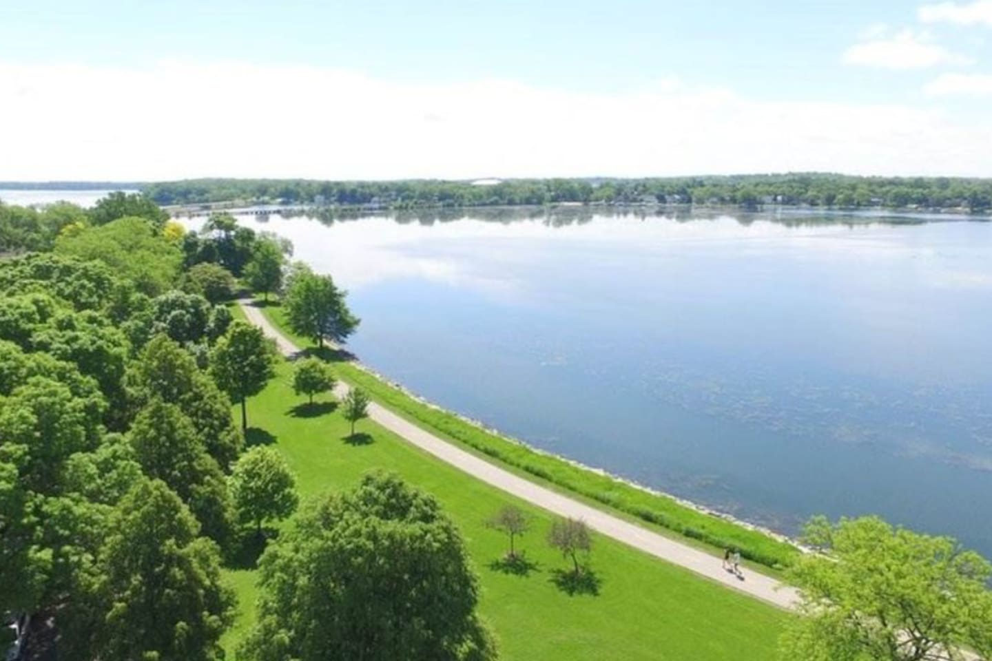Aerial View of Monona Bay, Brittingham Park and Bike Path Looking Southeast