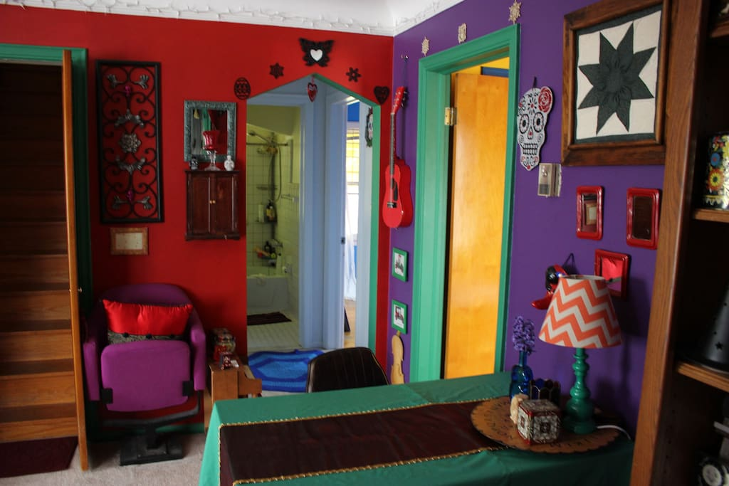 View of other side of common room entrance to bathroom and yoga/dance room