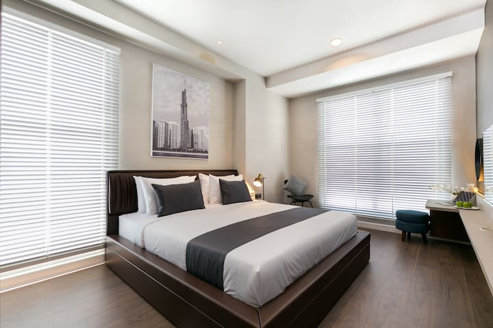 Master bedroom with comfort king-size bed