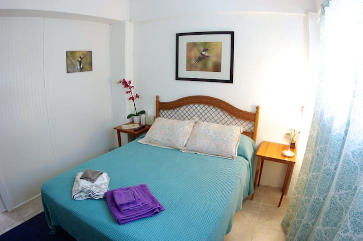 The blue room with queen size bed.