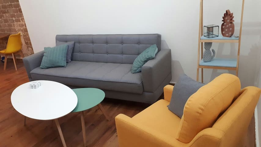 A comfortable sofa turns into a bed