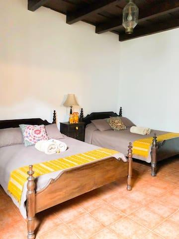 Habitación con 2 camas queen.