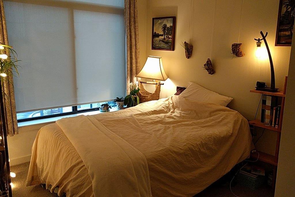 Bedroom 2- warm zen space, with natural water feature