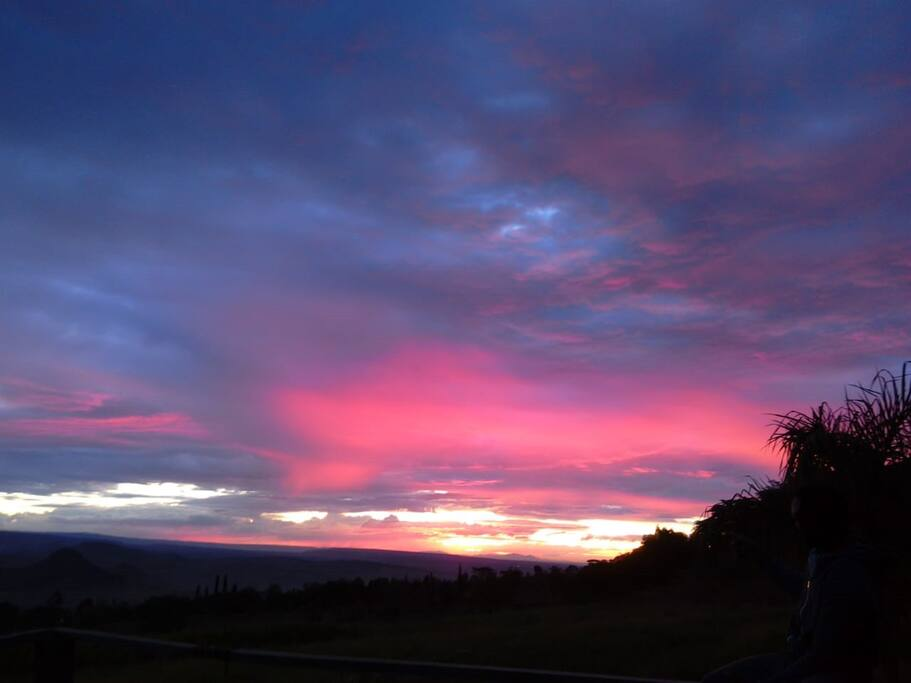 Beautiful sunset view from Koru Botanical Gardens