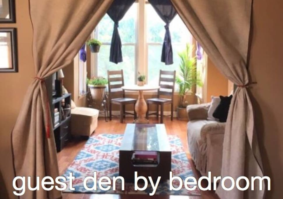 Den by guest room is separated by a door and also has privacy curtains to separate it from the rest of the apartment. TV has access to Netflix, Amazon Prime, Hulu, YouTube, and more through Roku. Enjoy!
