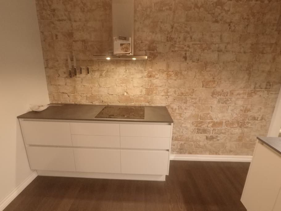 Brand new modern kitchen with induction top and cosy brick backwall